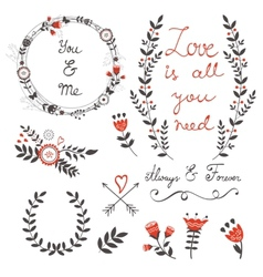 Beautiful love set with elegant frames flowers vector