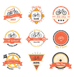 Bicycle club oldschool emblems vector