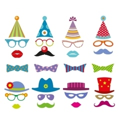 Birthday party photo booth props set vector image