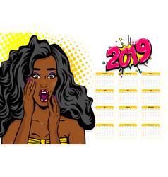 Black african-american young pop art calendar vector