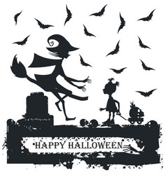 black and white halloween with child and witch vector image