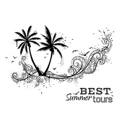 Black and white tropical vector