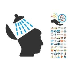 Brain Washing Icon With 2017 Year Bonus Symbols vector