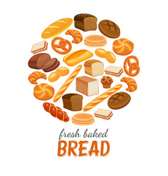 Bread products round poster vector