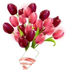 Bunch of tulips vector
