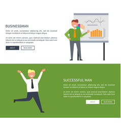 businessman with successful man web page design vector image