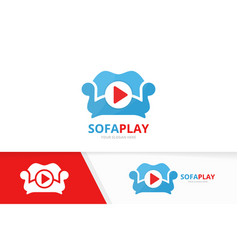 button play and sofa logo combination vector image