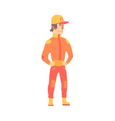 Car racing driver man in an orange uniform member vector