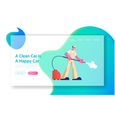 car wash service employee at work website landing vector image