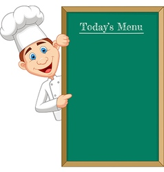 Cartoon chef cloche pointing at menu board vector image
