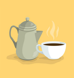 cartoon coffee kettle pot and cup on dish vector image