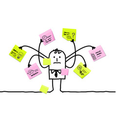 Cartoon man multitasking with sticky notes vector