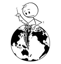 Cartoon man sewing broken or divided earth vector