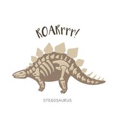 Cartoon stegosaurus dinosaur fossil vector