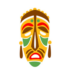Carved wooden mask with human face native indian vector