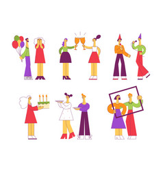 celebrating set with various vector image