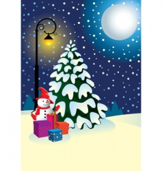 christmas gifts under the tree vector image