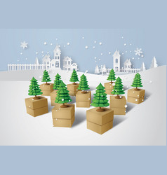 Christmas tree on gift box vector