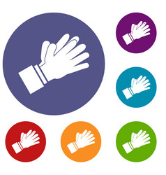 Clapping applauding hands icons set vector