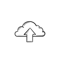 cloud with arrow up hand drawn outline doodle icon vector image