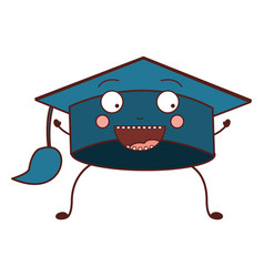 Color caricature of graduation cap vector