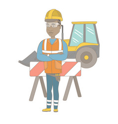 Confident african builder with arms crossed vector