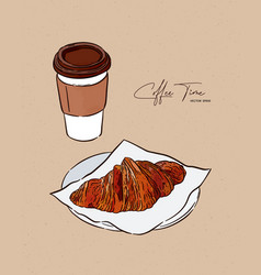 Croissant and coffee hand draw sketch vector