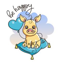 Cute cartoon baby golden pig vector