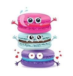 Cute macaroon doodles food vector