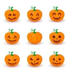 Cute pumpkin faces set vector
