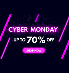 cyber monday sale banner in fashionable neon style vector image