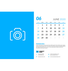 Desk calendar template for june 2020 week starts vector