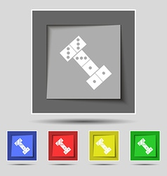 Domino icon sign on original five colored buttons vector