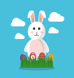 easter bunny decorated eggs on grass and clouds vector image