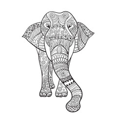 elaphant zentangle animal for coloring book vector image