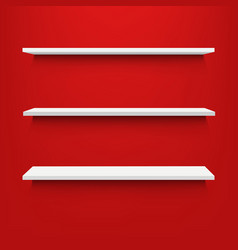 empty shelves with red background vector image