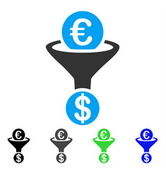 Euro currency conversion funnel flat icon vector