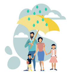 family with umbrella metaphor vector image