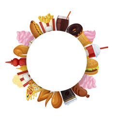 fast food round banner vector image