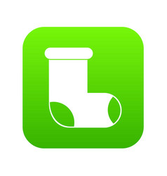 Felt boot icon digital green vector