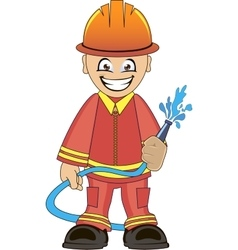 Firefighter in uniform with fire hose vector image