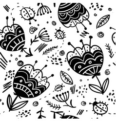 Flowers and bugs black and white seamless pattern vector
