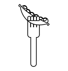 Fork with beans fresh vegetable isolated icon vector