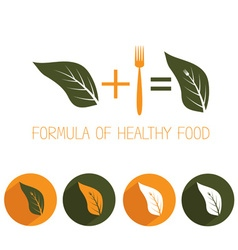 formula of healthy food with leaf and fork vector image