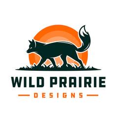 fox animal logo design on grass vector image