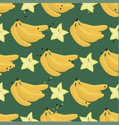 Fresh summer banana and carambola background vector