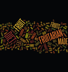 Fruitarian text background word cloud concept vector