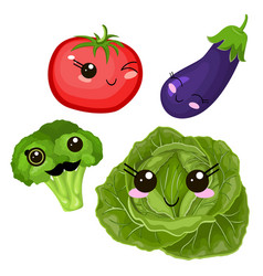 funny cartoon cute beet cabbage and ripe tomato vector image