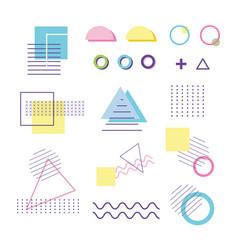 geometric shape elements design memphis 80s 90s vector image