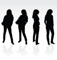 girl black posing silhouette vector image